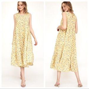 Floral print ruffle tiered maxi dress